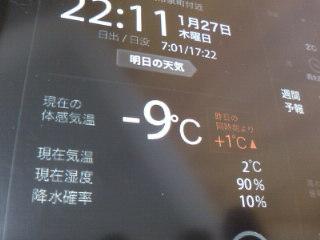 体感マイナス9℃