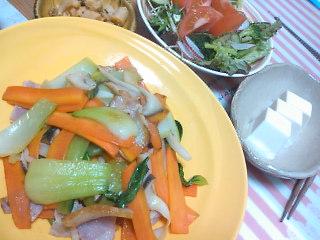 ベーコンとチンゲン菜