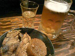 ビールと日本酒とぶりのアラ炊き