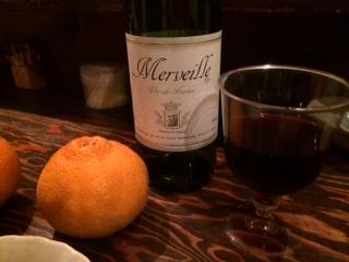 赤ワインとデコポンと